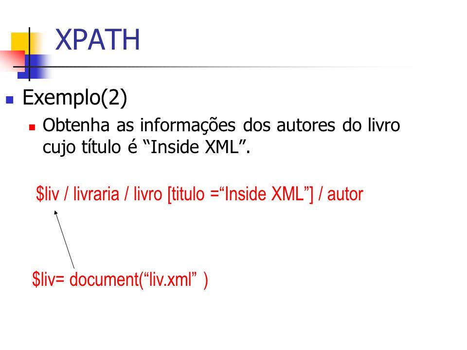XPATHExemplo(2) Obtenha as informações dos autores do livro cujo título é Inside XML . $liv / livraria / livro [titulo = Inside XML ] / autor.